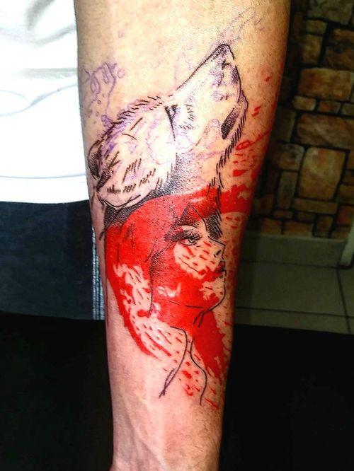 #wolftattoo #women #blood #red #linework