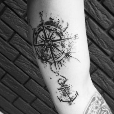 #тату #розаветров #якорь #trigram #tattoo #windrose #anchor #inkedsense #tattooist #кольщик
