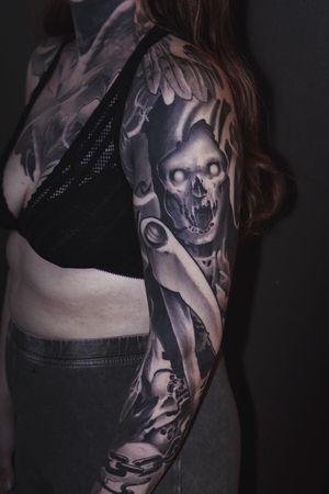 Tattoo by Rob Diamond #reapertattoo #tattoooftheday #blackandgrey #scary #tattooartist #Tattoodo