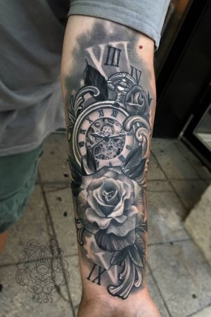 Roses and a pocket watch.                                 #roses #rose #blackandgrey #realism #forearm #illustrative #filagree #tattooartist  #milwaukee #chicago #Wisconsin #design #tattooart #tattoo