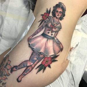 Tattooed pinup - #pinup #girl #tatsontats #traditional #neotraditional #JeanLeRoux #color #sailor #london