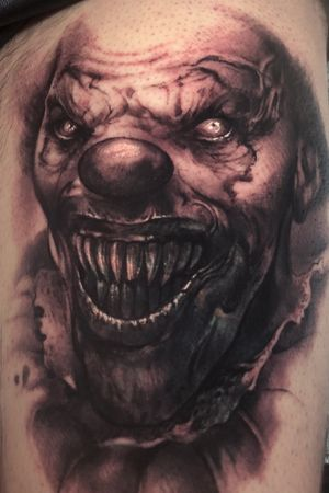 Freehand evil clown cover up. 6 hours. Bigctattoos@gmail.com or 6264560223 to book