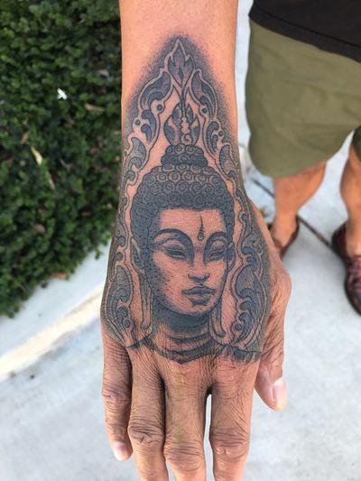 #buddha #thailand #hand #unalome #thai #thailand #illustrative #drawing #blackandgrey #customtattoo #dotwork #ornamental #blackwork