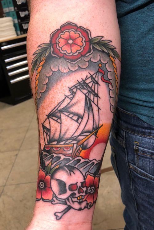 Traditonal color pirate tattoo by cj