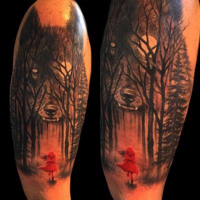 Big bad wolf. Thank you Carla. #redridinghood #fantasy #grim #dark #wolf #blackandgrey #tree #BigBadWolf #halfsleeve #milwaukee #Wisconsin #chicago #tattooartist #red #redandblack #Tattoodo #tattooart #tattoo #animal