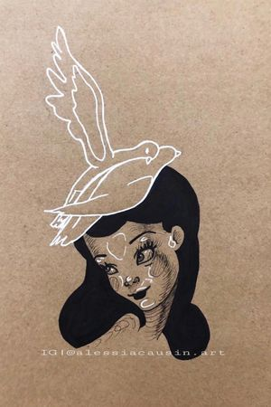 Fantasia, Disney. Black and white ink on toned paper 🦝