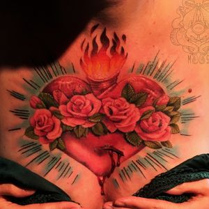 Sacred heart. #heart #sacredheart #religious #color #neotraditional #chest #tattooartist #tattoo #tattooart #milwaukee #Wisconsin #chicago