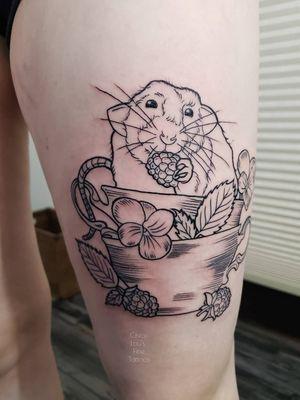 Line work (black work) rat and tea cups