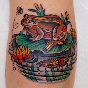 Tattoo by Andrew Mongenas #AndrewMongenas #frogtattoos #toadtattoos #frogs #toads #animals #amphibian #nature #color #traditional #flower #lotus