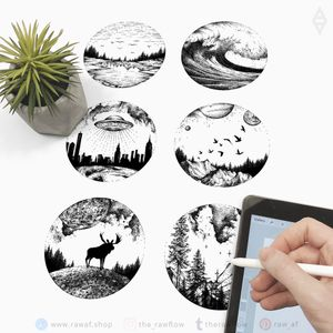 Travel and nature inspired design set - download: www.rawaf.shop #dotwork #blackwork #nature #mountain #travel #ufo #galaxy #space #black #blackandgrey