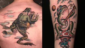 Tattoo on the left by Esther Garcia aka butterstinker and tattoo on the right by Dave Halsey #DaveHalsey #EstherGarcia #butterstinker #frogtattoos #toadtattoos #frogs #toads #animals #amphibian #nature