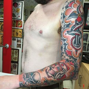 American Traditional full sleeve with stars and dots by Carl Hallowell on Mr W... #traditional #skull #snake #roseofnomansland #CarlHallowell