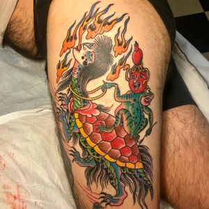 Tattoo by SaltyWalt #SaltyWalt #frogtattoos #toadtattoos #frogs #toads #animals #amphibian #nature #deity #surreal #Japanese #Irezumi #yokai #fire