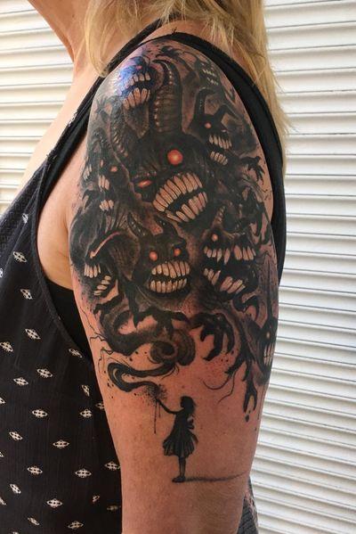 Grandaughter summoning demons. Thanks Carla~. #demon #dark #blackandgrey #fantasy #devil #Black #halfsleeve #Wisconsin #milwaukee #chicago #neotraditional #illustrative #design #monster #evil #Tattoodo #blackwork