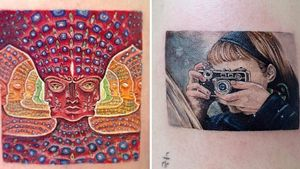 Tattoo on the left by Kozo Tattoo and tattoo on the right by Daldam #Daldam #KozoTattoo #squaretattoos #square #shape #framed #frame