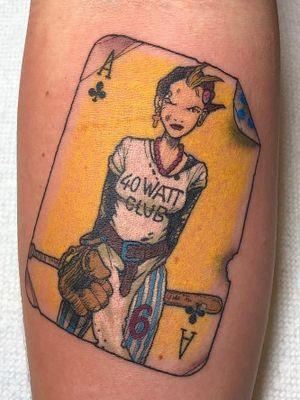 Tattoo by Rebeka Chase #RebekaChase #squaretattoos #square #shape #framed #frame #color #tankgirl #ace #baseball #comicbook #illustrative