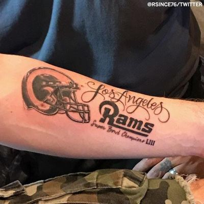 Via Twitter used Rsince76 #NFL #SuperBowl #SuperBowl2019 #Rams #Patriots #football #footballtattoos #NFLtattoos #SuperBowltattoos