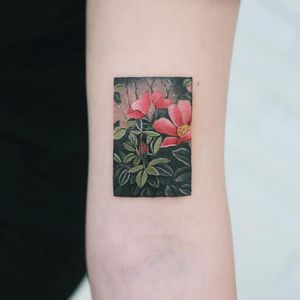 Tattoo by Sion #Sion #squaretattoos #square #shape #framed #frame #flower #floral #plant #nature