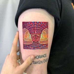 Tattoo by Kozo Tattoo #KozoTattoo #squaretattoos #square #shape #framed #frame #alexgrey #psychedelic #surreal #surrealism #thirdeye #painting