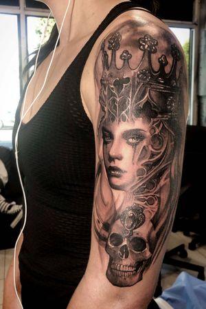 Black grey sleeve #Gothic #sadwoman #blackink #greyink #designs #tattoodesigns #ipadpro