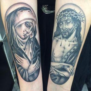 Tattoo by Sarah Schor #SarahSchor #awesometattoos #tattoodoapp #tattoodoappartists #virginmary #jesus #crownofthorns #tears #blood #stigmata #religious #Catholic #portrait #blackandgrey #oldschool #illustrative