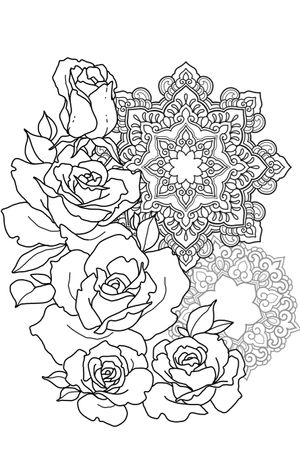 WANNADO ROSES AND MANDALA - #sketchtattoo #sketch #ornamental #mandala #roses