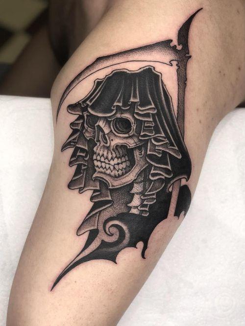 Tattoo by Gabriele Cardosi #GabrieleCardosi #awesometattoos #tattoodoapp #tattoodoappartists #blackandgrey #reaper #tribal #skull #skeleton #death #scythe #darkart