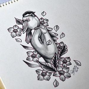 #hand #tattoosketch #bird #sakura #cerejeira #cherryblossom #mao #passaro #thiagopadovani
