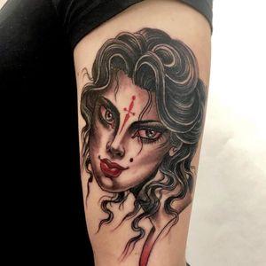 Tattoo by Christopher Conn Askew #ChristopherConnAskew #awesometattoos #tattoodoapp #tattoodoappartists #ladyhead #portrait #illustrative