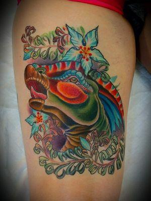 Rad dinosaur thigh tattoo on @little_terminator_pants Thanks for choosing a design from my book of want to tattoo drawings. Made using only the best @fytcartridges @eternalink @criticaltattoosupply @kingpintattoosupply @redemptiontattoocare @stencilstuff @inkjectapro #dinosaur #dino #dinotattoo #dinosaurtattoo #parasaurolophus #jurrasicworld #jurrasicpark #jurassicparktattoo #art #artist #colorado #coloradotattooartist #coloradolife #coloradoart #coloradoartist #dinosaurlover #lyonscolorado #bouldercolorado #estesparkcolorado #longmontcolorado #ladytattooer