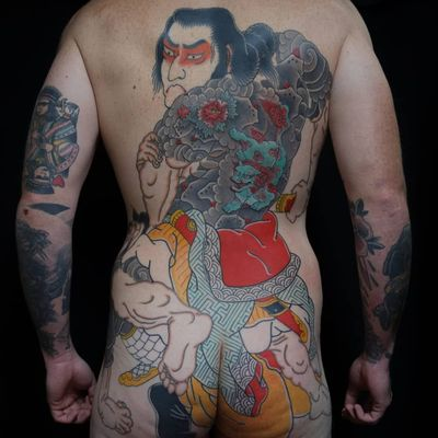 Tattoo by Ichi Hatano #IchiHatano #awesometattoos #tattoodoapp #tattoodoappartists #japanese #irezumi #samurai #backpiece #backtattoo #shishi #foodog #tattooedtattoo #portrait