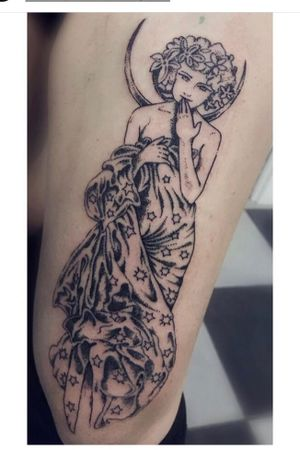 Alphonse Mucha Tribute - #tattooart #alphonsemuchatattoo #dotworktattoo