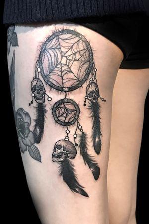 Skull dreamcatcher #skulldreamcatcher #koreatattoo #sexytattoo #inked #moreblack