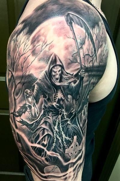Grim Reaper from a while back! #tattoos #bhfyp #ink #inked #tattooed #tattooartist #tattooart #tattoodo #tattoolife #inkedup #inkedguys #tattooist #bodyart #inkedgirls #inkstagram #blackwork #girlswithtattoos #guyswithtattoos #tattooing #artwork #grimreaper #tattooer #inklife #blacktattoo #tattooedgirls #tattooed