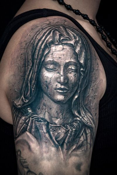 Tattoo by Pavel Angel. #3Dtattoos #3D #blackandgrey #stone #stonetattoo