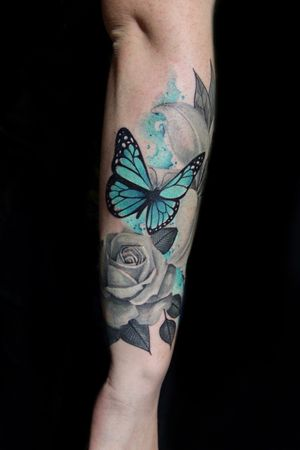 Black and gray flowers with color butterfly