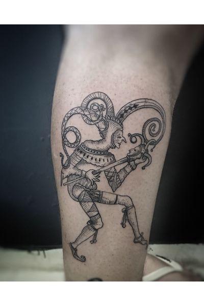 Joker/jester please do not copy . . . . . . . #Tattoo #tattoos #tattooinkspiration #tattoo2us #tattoo2me #tatuagem #tattoocampinas #tattooed #tattooinspiration #campinas #tattooflash #tattooartist #tattoostyle #electricink #jester #joker #clown #bobosacorte #hatch #hachuras