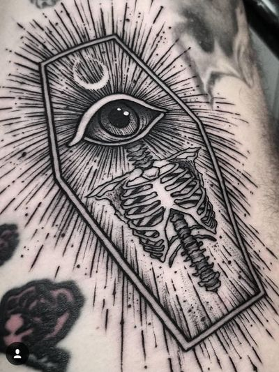 Tattoo by Thomas E #ThomasE #favoritetattoos #besttattoos #linework #dotwork #illustrative #eye #bones #skeleton #coffin #moon
