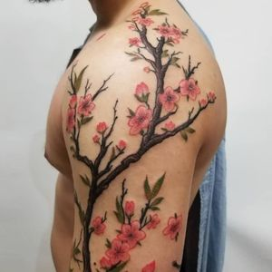 Cherry Blossoms, I love tattooing flowers #cherryblossoms #cherryblossomtattoo #NewYorkTattooer #japanesetattoo