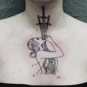 Tattoo by Simone Kimmeck #SimoneKimmeck #favoritetattoos #besttattoos #linework #blackwork #illustrative #swords #swordswallower #lady