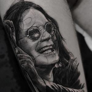 Tattoo by Noa Yanni #NoaYanni #rockandrolltattoos #musictattoo #rockandroll #music #70s #80s #famous #portraits #blackandgrey #ozzyosbourne #blacksabbath #realism #realistic #illustrative