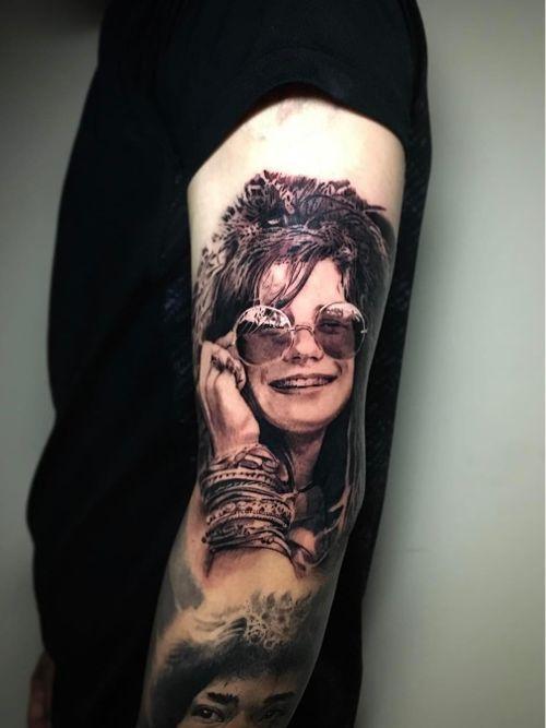 Tattoo by Shay Bredimus #ShayBredimus  #rockandrolltattoos #musictattoo #rockandroll #music #70s #80s #famous #portraits #blackandgrey #realism #realistic #janisjoplin
