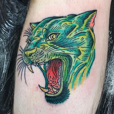 Tattoo by Robert WIlden aka Deathsure #RobertWilden #Deathsure #color #traditional #psychedelic #panther #junglecat #cat #kitty #nature #animal