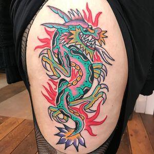 Tattoo by Robert WIlden aka Deathsure #RobertWilden #Deathsure #color #traditional #psychedelic #dragon