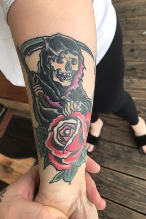 Healed photo of this awesome reaper and rose tattoo i did a few months ago! Thanks for looking!