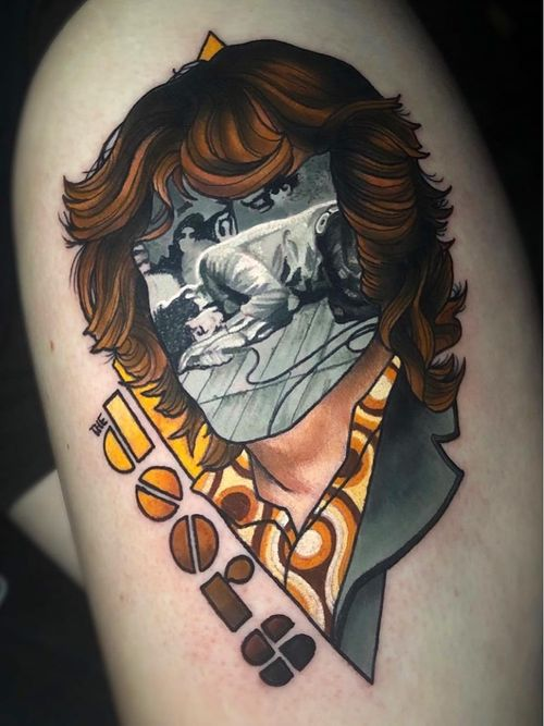 Tattoo by Jay Joree #JayJoree  #rockandrolltattoos #musictattoo #rockandroll #music #70s #80s #famous #portraits #thedoors #JimMorrison