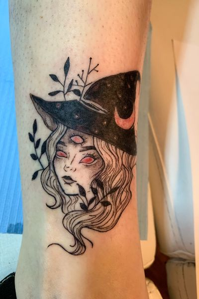 #witch #thirdeye #blackandgrey #peppershade #moon #plant #tattooartist #tattooart