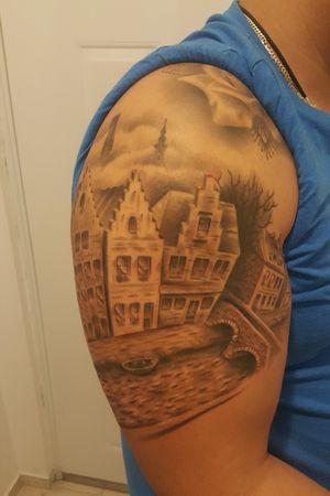 #brugge #bruges #belgiumtattoo #belgium #veniceofthenorth #blackandgrey #flanders #flemish #westflanders #flemishart #artwork #tattoodo #inked #tattooart