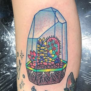 Tattoo by Robert WIlden aka Deathsure #RobertWilden #Deathsure #color #traditional #psychedelic #cactus #cacti #plant #crystal #roots #nature