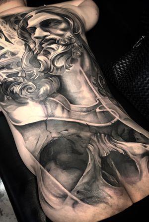 progress tattooing. #statuetattoo #statue #posidon #blackandgrey